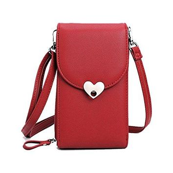 Women Wallet Girls Crossbody Cell Phone Bag Purse Leather Pouch Credit Card Holder Functional Multi Pocket iPhone Smartphone