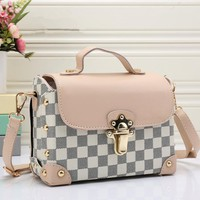 """Louis Vutitton"" Women Fashion Multicolor Retro Tartan Single Shoulder Messenger Bag Handbag"