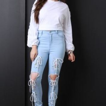 Trifecta Lace-Up Denim Jeans