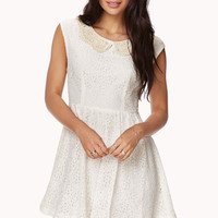 FOREVER 21 Floral Lace & Crochet Dress Cream Large