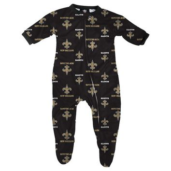 New Orleans Saints Infant Piped Raglan Full Zip Coverall - Black
