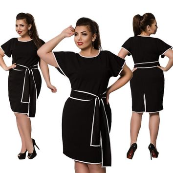 2017 New Plus Size Party Dresses Short Sleeve Black Slim Office Dress 5XL 6XL Big Size Women Dress L