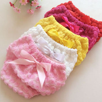 baby underwear baby girls cotton solid bow rose floral briefs 6 color newborn girl lovely panties fashion Photo Photography Prop