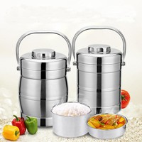 3 Layers Stainless Steel Lunch Box Portable 6 Hours Vacuum Insulation Dinnerware Sets