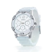 Women's Geneva White w/ Silver Chronograph Silicone Rubber Jelly with CZ Crystal Rhinestones Face Bling Bezel