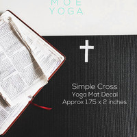 Yoga Mat Decal Small Cross SET of 2 Multiple Colors Available Vinyl Sticker for Yoga Mat