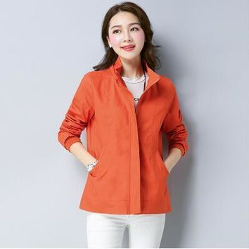 Trendy 2018 new spring autumn short paragraph slim large size women's windbreaker jacket hooded jacket mother dress was thin loose AT_94_13