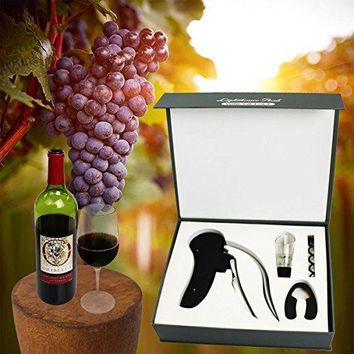 Corkscrew Wine Opener Rabbit Lever Style Automatic Wine Opener Gift Box with Foil Cutter Wine Aerator Decanter and Replacement Corckscrew 4 PC