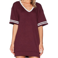 Wine Red V-neck Baseball Mini Dress