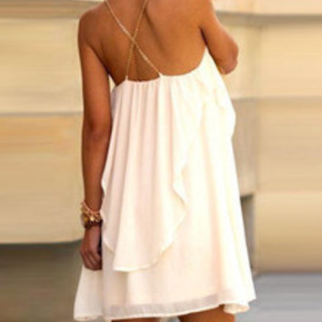 White Slip Spaghetti Strap Ruffle Dress