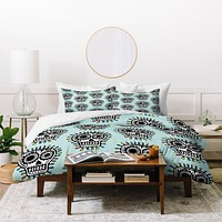 Andi Bird Sugar Skull Fun Aqua Duvet Cover
