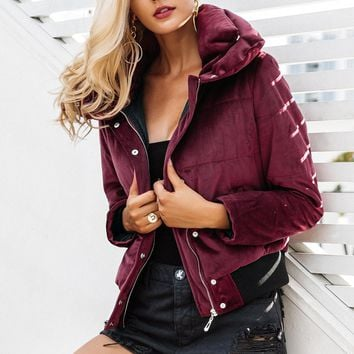 Wine Red Velvet Padded Jacket