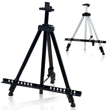White Easel Aluminium Alloy Folding Painting Easel Frame Artist Adjustable Tripod Display Shelf With Carry Bag Outdoors Studio