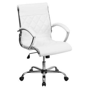 Designer Mid Back Diamond Patterned White Leather Executive Adjustable Swivel Office Chair | Overstock.com Shopping - The Best Deals on Executive Chairs