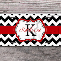 Cute License Plate - Black chevron with Pretty Red Ribbon monogrammed front car plate, personalized car tag - 242