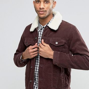 ASOS Cord Western Jacket With Fleece Collar In Burgundy at asos.com