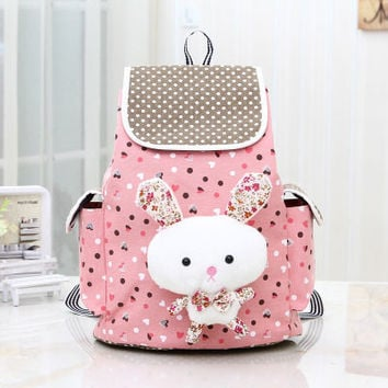 Sweet Cute Rabbit Bunny Canvas Leisure Backpack