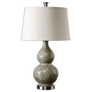 Uttermost 26299 Hatton Green and Ivory Ceramic One-Light Table Lamp