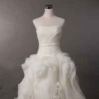 A-line Strapless Ivory Wedding/ Bridal Dress - Sweetheart Neckline, Lace Up Back - Organza Princess Bridal Gown - Made to Order