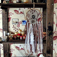 Bohemian Dreamcatcher - Latte - Boho Dreamcatcher - Made To Order-  Hippie Bedroom Decor - Gypsy Room Decor