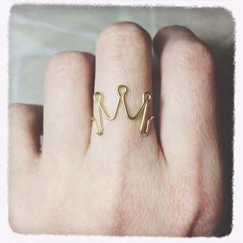 Princess ring/gold ring/crown ring/unique jewelry/brass gold wire jewelry/tiara ring/silver wire ring/friend gift/dainty ring/Statement Ring