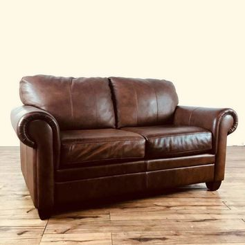 Ethan Allen Contemporary Leather Two-Cushion Sofa