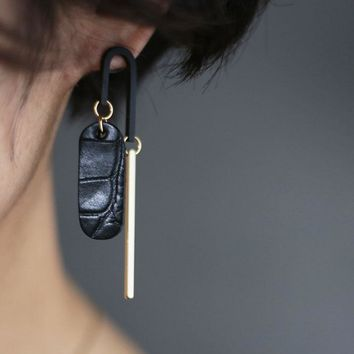 Accenture Leather Gold Earrings
