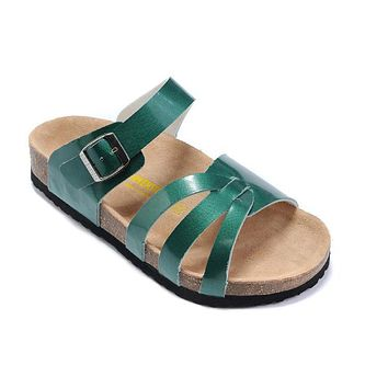 Birkenstock Munich Sandals Artificial Leather Green - Ready Stock