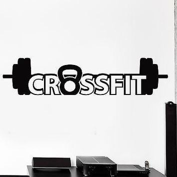 Wall Sticker Sport Crossfit Barbell Dumbell Bodybuilding Vinyl Decal Unique Gift (z2979)