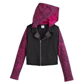 Disney D-Signed Cheetah Hooded Moto Jacket - Girls