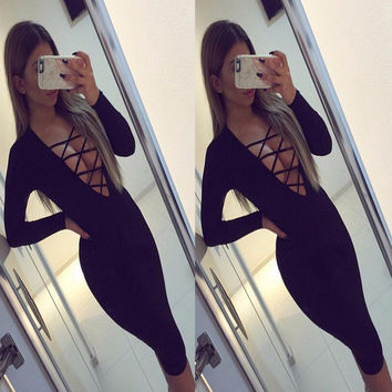 Autumn Women's Fashion Sexy V-neck Bandages Long Sleeve One Piece Dress [8098140679]