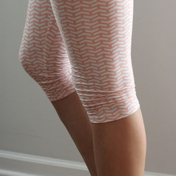 Pink and White Capri Leggings