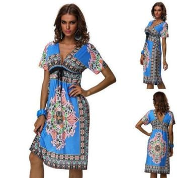 Details About New Fashion Lady Retro Maxi Hippie Boho Paisley Print Strapless Summer Sun Dress