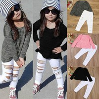2PCS Toddler Kids Baby Girl Outfits Clothes Long Sleeve T-shirt Tops+Long Pants