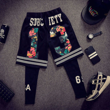 Hip-hop Summer Sea Knit Cotton Pants Beach Shorts [6541226371]