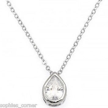 1.5 ct. Pear Shaped Created Diamond Bezel Solitaire Pendant Necklace ~ WGP