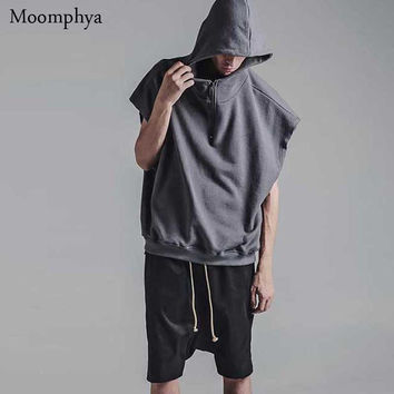 New Men solid color sleeveless Hoodies half zip design hooded Hoodies Sweatshirts men