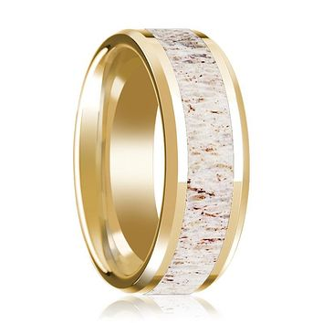 14K Yellow Gold Wedding Ring with White Deer Antler Inlay Beveled Edge and Polished