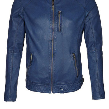 Men's blue Biker leather jacket, men leather jacket, real leather jacket, men blue leather jacket.