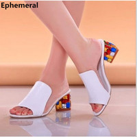 Lady Classure Femme Luxury Colorful Rhinestone Real leather Peep toe Plus size(4-10)thick Square high heels Women sandals Pumps