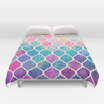 Rainbow Pastel Watercolor Moroccan Pattern Duvet Cover by micklyn | Society6