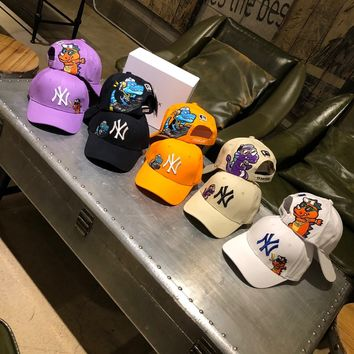 """""""New York Yankees"""" Fashion Casual Simple Little Monsters Embroidery Stripe Letter Cotton Tongue Cap Hat"""