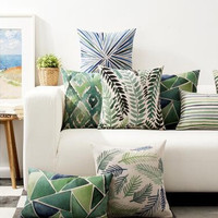 """High Quality Green Tropical Plants Tree Leaves Linen Pillow Case Cushion Cover 18""""x18"""" For Home Car Hotel Decoration"""