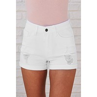 Closing Time Distressed Shorts (White)