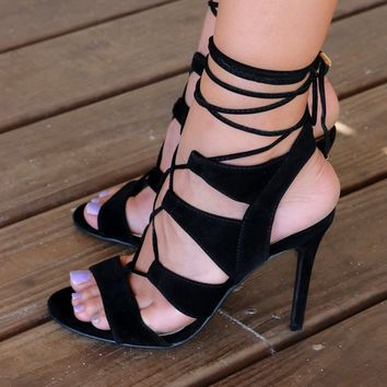 Restless Heat Black Lace Up Heels
