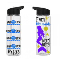 Motivational Water Bottle, Mermaid Water Bottle, Water Tracker Bottle, Cute Water Bottle, Personalized Water Bottle