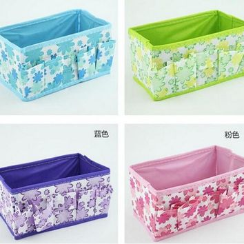 18*10*10CM 1pcs/lot New Flowers Non-Woven Fabric Desk Storage Box Holder Jewelry Cosmetic Stationery Organizer Storage Case
