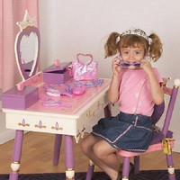 Kids Small Princess Vanity Set with Mirror and Storage, Music Box and Cushioned