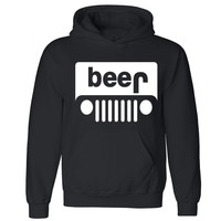 """Zexpa Apparelâ""""¢ Beer Jeep Unisex Hoodie Funny Collage Party Dope Swag Design Hooded Sweatshirt"""