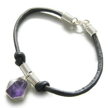 Brazilian Healing Charm Crystal Point Amethyst Gemstone Dipped in Silver Genuine Leather Bracelet